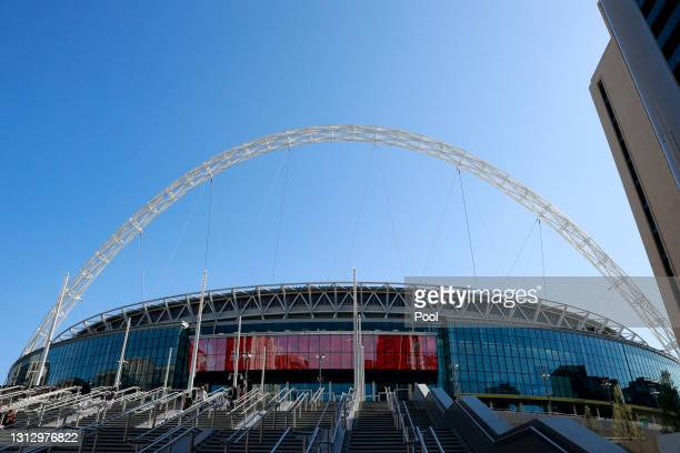 General view outside the stadium prior to the Semi Final of the Emirates FA Cup match between Manchester City and Chelsea FC at Wembley Stadium on...