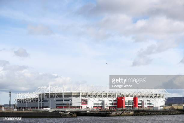General view outside the stadium prior to the Sky Bet Championship match between Middlesbrough and Stoke City at Riverside Stadium on March 13, 2021...