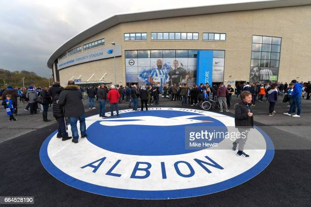 General view outside the stadium prior to the Sky Bet Championship match between Brighton Hove Albion and Birmingham City at Amex Stadium on April 4...