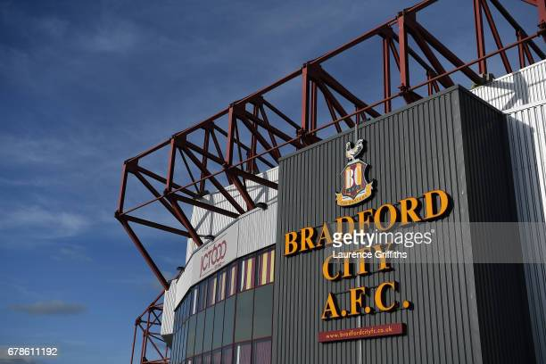 A general view outside the stadium prior to the Sky Bet League One playoff semi final first leg match between Bradford City and Fleetwood Town at the...