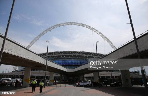 General view outside the stadium prior to the Sky Bet League Two Playoff Final between Blackpool and Exeter City at Wembley Stadium on May 28 2017 in...