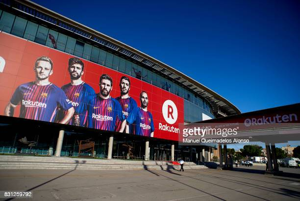 General view outside the stadium prior to the Supercopa de Espana Supercopa Final 1st Leg match between FC Barcelona and Real Madrid at Camp Nou on...