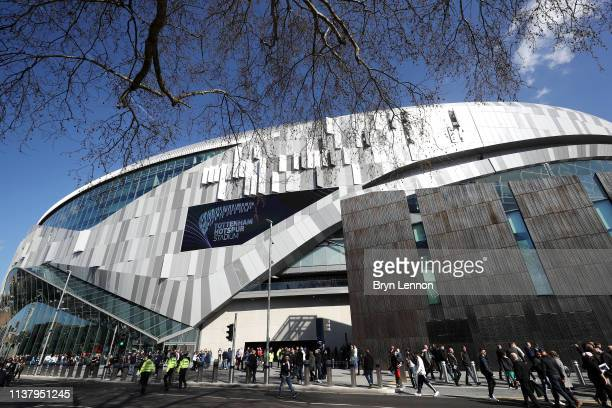 General view outside the stadium prior to the U18 Premier League between Tottenham Hotspur and Southampton at Tottenham Hotspur Stadium on March 24...