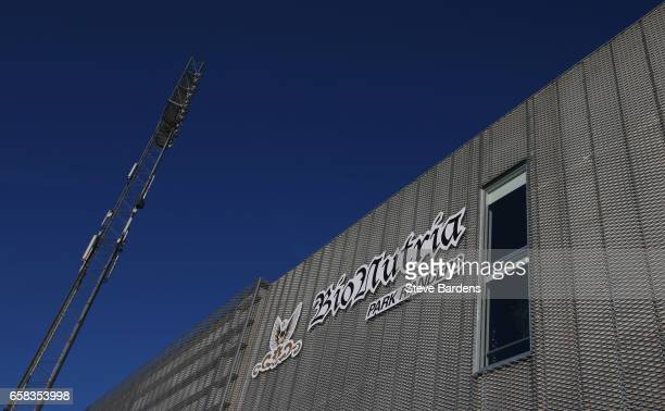 A general view outside the stadium prior to the U21 international friendly match between Denmark and England at BioNutria Park on March 27 2017 in...