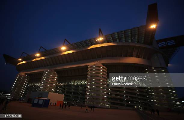 General view outside the stadium prior to the UEFA Champions League group F match between FC Internazionale and Borussia Dortmund at Giuseppe Meazza...