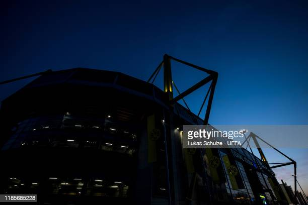 General view outside the stadium prior to the UEFA Champions League group F match between Borussia Dortmund and Inter at Signal Iduna Park on...