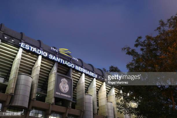 General view outside the stadium prior to the UEFA Champions League group A match between Real Madrid and Galatasaray at Bernabeu on November 06 2019...