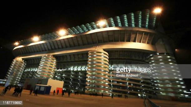 General view outside the stadium prior to the UEFA Champions League group F match between FC Internazionale and FC Barcelona at Giuseppe Meazza...