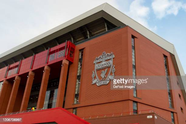 General view outside the stadium prior to the UEFA Champions League round of 16 second leg match between Liverpool FC and Atletico Madrid at Anfield...