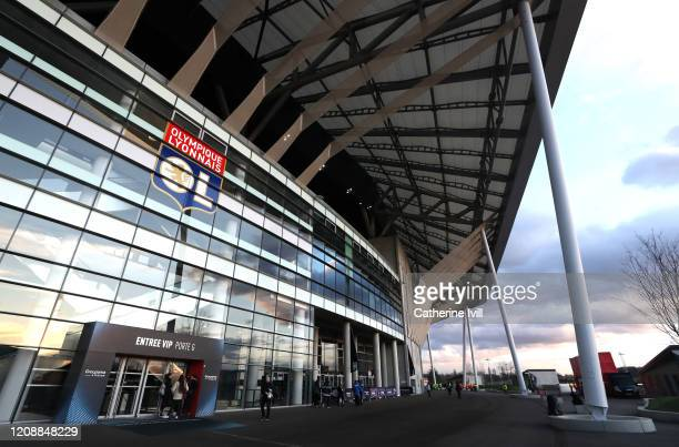 General view outside the stadium prior to the UEFA Champions League round of 16 first leg match between Olympique Lyon and Juventus at Parc Olympique...