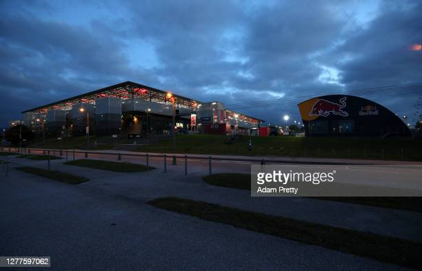 General view outside the stadium prior to the UEFA Champions League Play-Off second leg match between RB Salzburg and Maccabi Tel-Aviv at Red Bull...