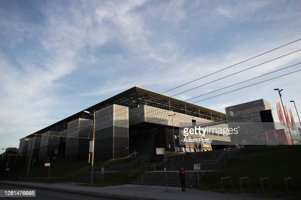 General view outside the stadium prior to the UEFA Champions League Group A stage match between RB Salzburg and Lokomotiv Moskva at Red Bull Arena on...