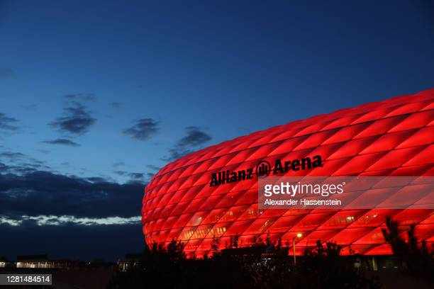 General view outside the stadium prior to the UEFA Champions League Group A stage match between FC Bayern Muenchen and Atletico Madrid at Allianz...