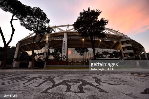 General view outside the stadium prior to the UEFA Champions League Group F stage match between SS Lazio and Zenit St. Petersburg at Stadio Olimpico...