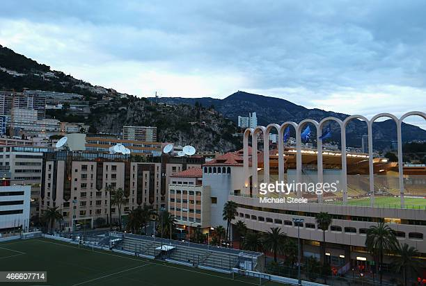 A general view outside the stadium prior to the UEFA Champions League round of 16 second leg match between AS Monaco and Arsenal at Stade Louis II on...
