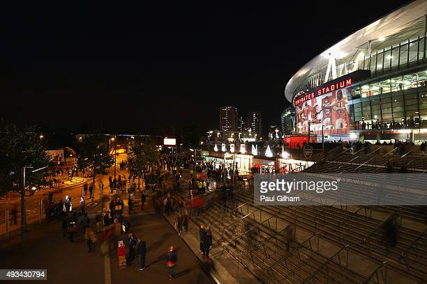 General view outside the stadium prior to the UEFA Champions League Group F match between Arsenal FC and FC Bayern Munchen at Emirates Stadium on...