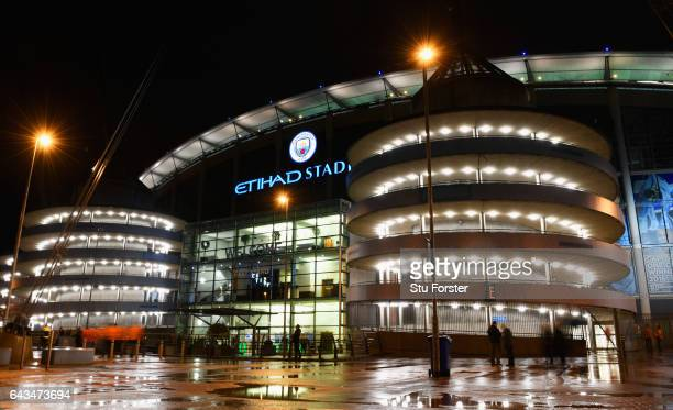 A general view outside the stadium prior to the UEFA Champions League Round of 16 first leg match between Manchester City FC and AS Monaco at Etihad...
