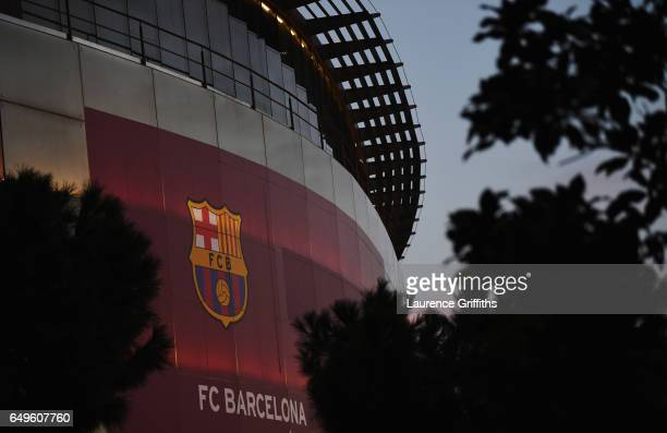 A general view outside the stadium prior to the UEFA Champions League Round of 16 second leg match between FC Barcelona and Paris SaintGermain at...