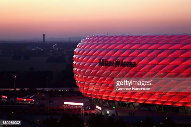 General view outside the stadium prior to the UEFA Champions League group B match between Bayern Muenchen and Celtic FC at Allianz Arena on October...