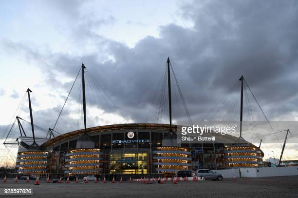 General view outside the stadium prior to the UEFA Champions League Round of 16 Second Leg match between Manchester City and FC Basel at Etihad...