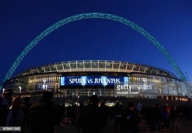 A general view outside the stadium prior to the UEFA Champions League Round of 16 Second Leg match between Tottenham Hotspur and Juventus at Wembley...