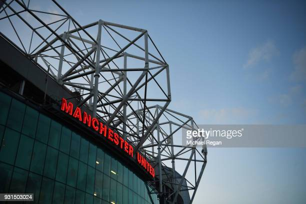 A general view outside the stadium prior to the UEFA Champions League Round of 16 Second Leg match between Manchester United and Sevilla FC at Old...