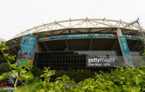 General view outside the stadium prior to the UEFA Euro 2020 Championship Group A match between Italy and Wales at Olimpico Stadium on June 20, 2021...