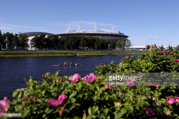General view outside the stadium prior to the UEFA Euro 2020 Championship Group B match between Finland and Russia at Saint Petersburg Stadium on...