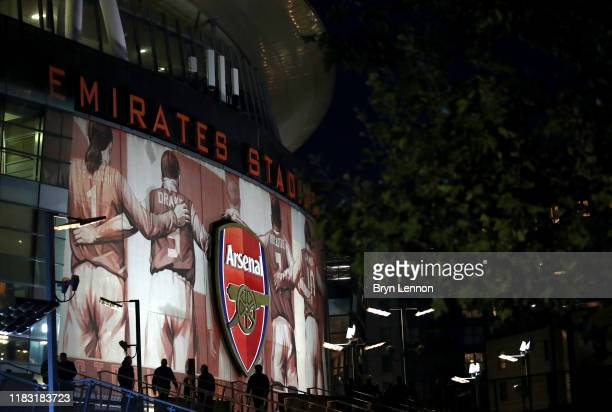 General view outside the stadium prior to the UEFA Europa League group F match between Arsenal FC and Vitoria Guimaraes at Emirates Stadium on...