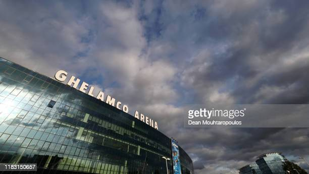 General view outside the stadium prior to the UEFA Europa League group I match between KAA Gent and VfL Wolfsburg at Ghelamco Arena on October 24,...