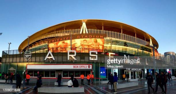 General view outside the stadium prior to the UEFA Europa League round of 32 second leg match between Arsenal FC and Olympiacos FC at Emirates...