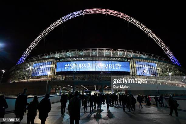General view outside the stadium prior to the UEFA Europa League Round of 32 second leg match between Tottenham Hotspur and KAA Gent at Wembley...