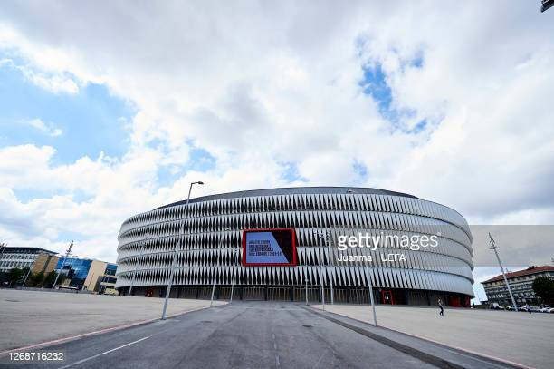 General view outside the stadium prior to the UEFA Women's Champions League Semi Final between Paris Saint-Germain and Olympique Lyonnais at San...