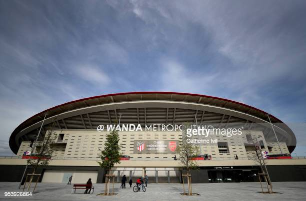General view outside the stadium with an advertisment for the Atletico Madrid and Arsenal match before an Arsenal Press Conference at Estadio Wanda...