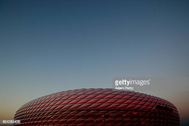 A general view outside the stadiuprior to the UEFA Champions League Group D match between FC Bayern Muenchen and FC Rostov at Allianz Arena on...