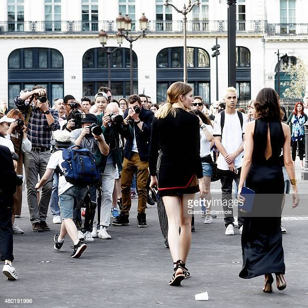 A general view outside the Versace show as part of Paris Fashion Week HauteCouture Fall/Winter 2015/2016 on July 5 2015 in Paris France
