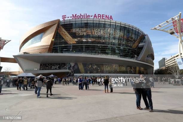 General view outside T-Mobile Arena prior to a game between the Vegas Golden Knights and the St. Louis Blues on January 04, 2020 in Las Vegas, Nevada.
