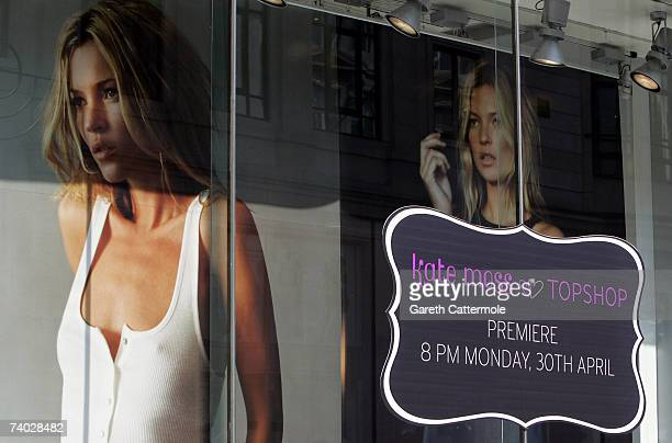 General view outside Top Shop on Oxford Street ready for tonight's shopping preview of the Kate Moss collection on April 30, 2007 in London.