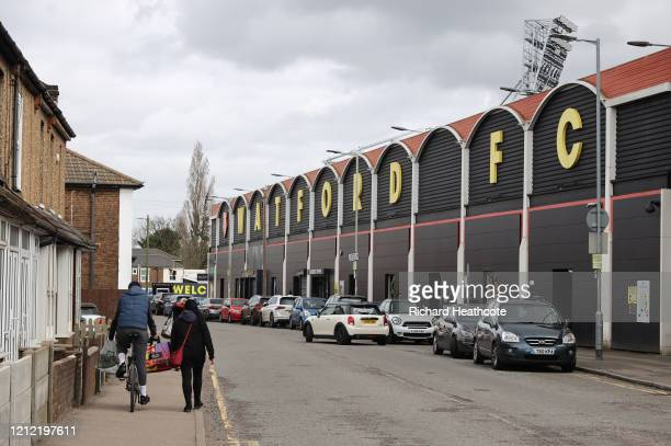 General view outside Vicarage Road, home of Watford FC as all Premier League matches are postponed until April 3rd due to the Coronavirus Covid-19...