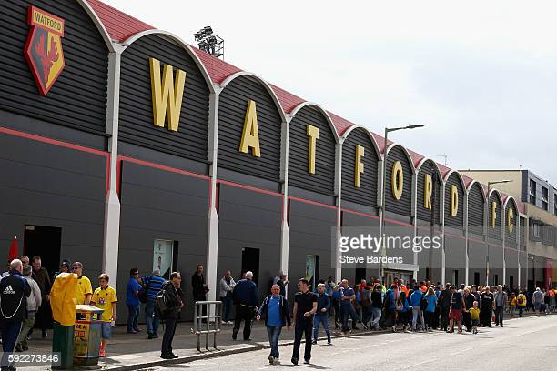General View outside Watford stadium prior to kick off during the Premier League match between Watford and Chelsea at Vicarage Road on August 20 2016...