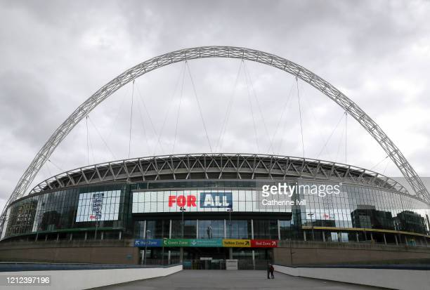 General view outside Wembley Stadium advertising the non-league Finals day. All English football matches are postponed until at least April 3rd due...