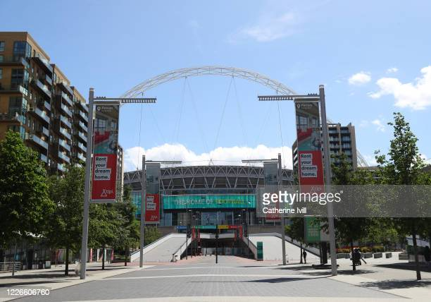 General view outside Wembley stadium on what should have been FA Cup Final day on May 23 2020 in London England The British government has started...