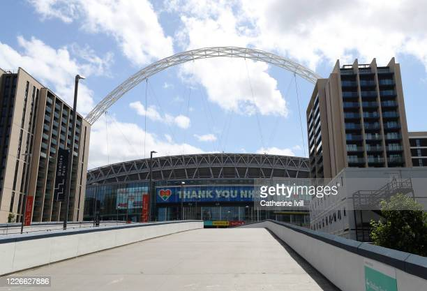 General view outside Wembley stadium on what should have been FA Cup Final day on May 23, 2020 in London, England. The British government has started...