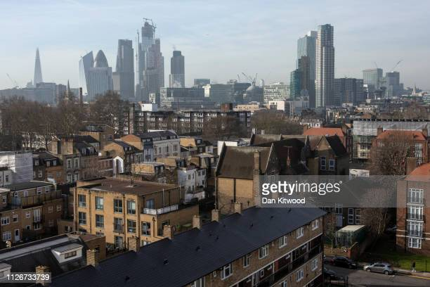 A general view over Bethnal Green towards the city of London on February 22 2019 in London England Bethnall Green in East London was the former home...
