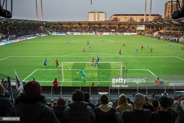 General view over Bravida Arena while players of Djurgardens IF have a scoring chance behind Christoffer Kallqvist goalkeeper of BK Hacken during the...