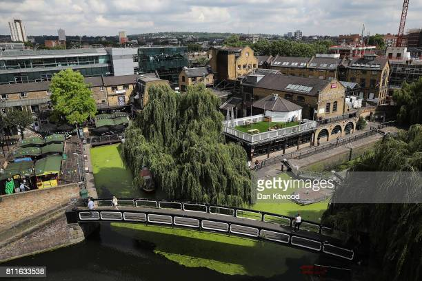 A general view over Camden Lock Market after a fire on July 10 2017 in London England Camden in North London has been one of the city's cultural...