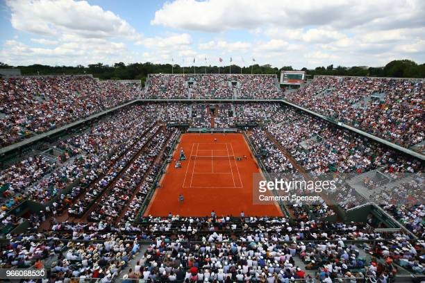 A general view over court Philippe Chatrier during the mens singles third round match between Rafael Nadal of Spain and Richard Gasquet of France...