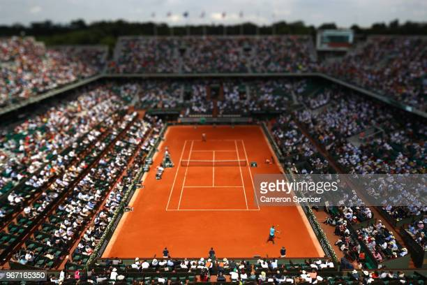 A general view over Court Philippe Chatrier during the mens singles fourth round match between Rafael Nadal of Spain a Maximilian Marterer of Germany...