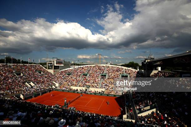 General view over court Suzanne Lenglen during the ladies singles third round match between Caroline Garcia of France and Irina-Camelia Begu of...