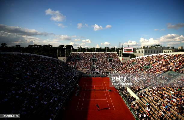 A general view over Court Suzanne Lenglen during the mens singles first round match between Nicolas Mahut of France and Juan Martin Del Potro of...